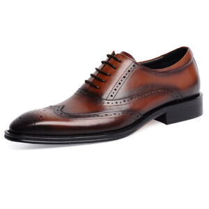 New Men's Real Leather Dress Formal Shoes Wing Tip Brogues Lace Up