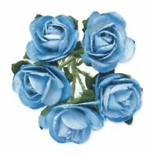 144 BLUE PAPER TEA ROSES ON STEMS FLOWERS 15mm CRAFT WEDDING BOUQUET BABY SHOWER