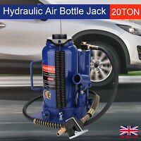 20 Ton Pneumatic Air Hydraulic Bottle Jack w/ Manual Hand Pump Car Van Truck UK