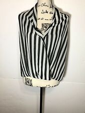 Saks Fifth Avenue Sleeveless Surplice Wrap Blouse Size XS Striped White & Black