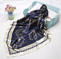 Seide Halstuch Seidentuch Life Style 90x90 Blau Royal Kopftuch Damen Schal N4