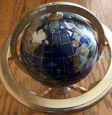 World Globe w Semi-Precious Stone Inlays w Compass in Brass Coloured Stand