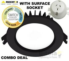 10w LED DOWNLIGHT CCT CHANGING WITH SURFACE SOCKET MERCATOR OPTICA TRIO BLACK