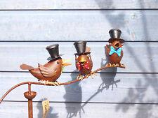 Windspiel lustige Vögel Raben aus Metall, bunt, Gartenstecker Beetstecker Vogel