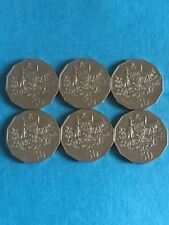 6 X 50 CENT 2001 FEDERATION OF AUSTRALIA COINS COAT OF ARMS EMU & KANGAROO (2)