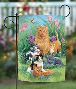 Toland Meadow Cats 12.5 x 18 Spring Summer Flower Floral Kitty Garden Flag