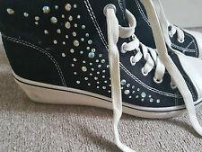 Ladies negro Tacones De Cuña Zapatillas Sneakers de alta Tops Tobillo Botas Lentejuelas EU 38