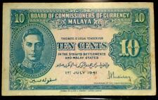 1941 TEN CENTS BOARD OF COMMISSIONERS OF CURRENCY MALAYA. CRISP, XF