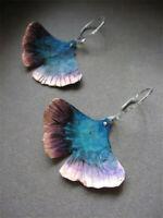 Ginkgo Bilbao 925 Silver Fan-Shaped Ear Hook Dangle Drop Two-tone Earrings Gift