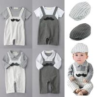 Baby Boy Wedding Christening Tuxedo Party Suit Outfit Clothes+Hat Set NEWBORN