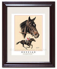 Ruffian - Framed Horse Racing Art equine artist Rohde portrait painting Nice