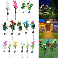 3X Solar Power Rose Flower Stake Landscape Lamp Yard 5 LED Light Outdoor Garden