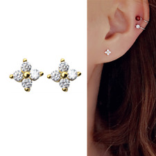 Solid 925 Sterling Silver Mini CZ Flower Motif Shiny Piercing Stud Earrings Gold