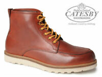 Mens Catesby Leather Boots Ankle Chukka Casual Lightweight Lace Up Shoes