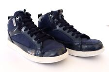 BOYS CADILLAC MESH SPOKE 4 NAVY BLUE HI TOP Sz 4 SNEAKERS PATENT LEATHER BOOTS