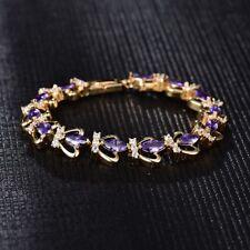 Dazzling Charms Purple Amethyst Fashion Women Wedding Party Gold Bracelet Chain
