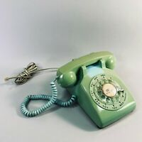 Vintage MCM 60s 70s ITT 500 Rotary Dial Telephone Teal Mint Green Desk Phone