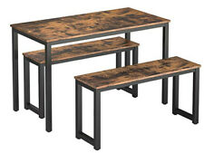 Esstisch-Set, Rechteckiger Küchentisch mit 2 Bänke für 4 Personen NEU
