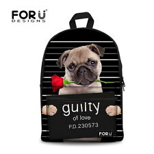 Teenagers School Bags for Boys Girls Bookbag Canvas Backpack Animal Pug Printing