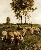 Artwork Oil painting dog Collie Watching The Flock sheep in landscape on canvas