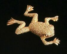 Signed  Christian Dior Pin Brooch Gold-Plated Frog New Dior Logo