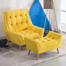 Full Button Tufted Chesterfield Sofa Chair Chaise Lounge Armchair &Footstool Set