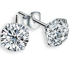 925 Sterling Silver 2ct Cubic Zirconia Stud Earrings, 6mm Gift Box K36