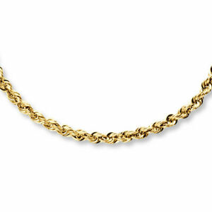 14K Solid Yellow Gold Necklace Rope Chain 22''
