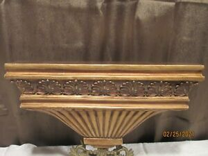 Neo-classical Gold Gilt MID CENTURY MODERN Wall Sconce Shelf 14""