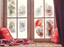 Seamless Christmas Santa Claus Outside Window Backgrounds Photography Backdrops