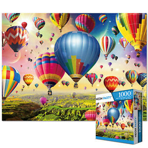 NEON PARTY 1000 Pieces Jigsaw Puzzles for Adults Kids-Balloon Education Learning