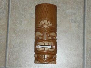 TIKI MASK WOOD  TROPICAL POLYNESIAN 12 inches tall