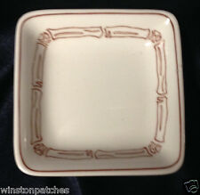"WEDGWOOD 4"" SQUARE METALLISED TRAY WHITE W BROWN BAMBOO RESTAURANT 4034 TUBOAN"