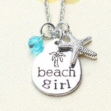 925 Silver Plt Palm Tree 'Beach Girl' Holiday Trip Engraved Necklace Summer A