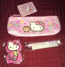 Hello Kitty Pencil Case Cosmetic Makeup Pouch Memo Pad & Pencil Spring Flowers