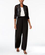 NEW $199 R&M RICHARDS WOMEN'S BLACK SCALLOPED SEQUIN LACE SHRUG JACKET SIZE L