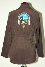 Jaclyn Smith Brown Blouse Jacket With Embroidered Native Dream Catcher Small