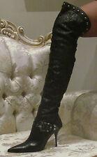 LORIBLU Metal Studs,Exotic Python Snakeskin,Swarovski Crystals boots 39,US 9