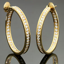 CARTIER Inside Out Diamond 18k Yellow Gold Hoop Earrings