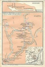 Carta geografica antica GROTTE DI POSTUMIA POSTOJNA TCI 1920 Old antique map