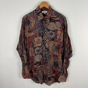 Marks and Spencer Mens Button Shirt Medium Multicoloured Geometric Long Sleeve