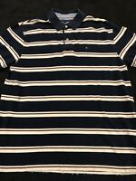 Vintage Tommy Hilfiger Men's Navy White Red Polo Rugby Flag Sz XL