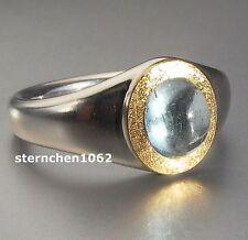 Einzelstück * Ring * 925 Silber * 24 ct. Gold * Aquamarin *