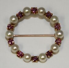Pearl 14K Yellow Gold Pin Vintage Estate .50ct Ruby & Culture