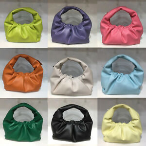 Small Mini Real Leather Ruched Tote Pouch bag Purse Clutch Clip on Top Handle
