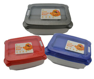 3 in pack Rectangular Container Food Storage Box Freeze  Coloured lid Plastic