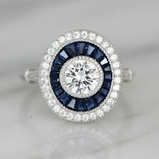 Sterling Silver 925 Big Art Deco Style Syn Blue Sapphire & CZ Oval Halo Ring
