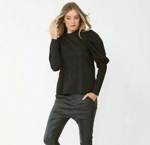 Decjuba Willow Puff Sleeve Blouse Black Size 8 BNWT