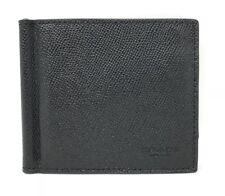 Coach F23847 Money Clip Billfold Black Crossgrain Leather Men's Wallet $165