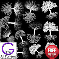 ​Tree of Life Fusing Glass Decal Ceramic Waterslide Enamel-Black-White-Gold